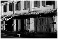 Old colonial houses. Luang Prabang, Laos ( black and white)
