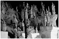 Buddha statues, Tham Ting cave, Pak Ou. Laos (black and white)