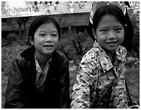 Two young girls at the market. Luang Prabang, Laos ( black and white)