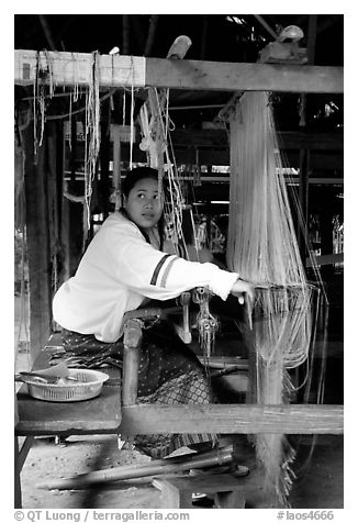 Traditional weaving in Ban Phanom village. Luang Prabang, Laos (black and white)