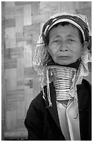 Old Padaung Woman,  Kalaw. Shan state, Myanmar ( black and white)