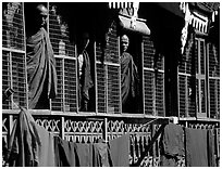 Monks in residential quarters, Shwedagon Paya. Yangon, Myanmar (black and white)