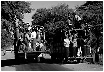 Crowded public busses. Mount Popa, Myanmar (black and white)