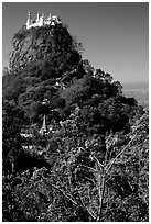 Complex of monestaries on a volcanic spire. Mount Popa, Myanmar (black and white)