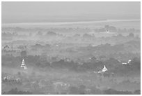 View from the hill through dawn mist. Mandalay, Myanmar (black and white)