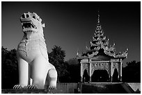 Lion at the entrance of  Mandalay Hill. Mandalay, Myanmar (black and white)