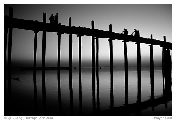 U Bein bridge at sunset. Amarapura, Myanmar (black and white)