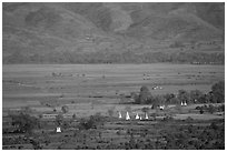 Stupas in the Heho plain. Shan state, Myanmar (black and white)