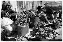 Vendors, Market in Kalaw. Shan state, Myanmar (black and white)