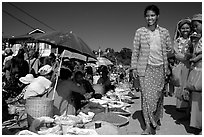 Market scene, Kalaw. Shan state, Myanmar (black and white)