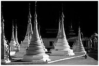 Stupas in Kalaw. Shan state, Myanmar ( black and white)
