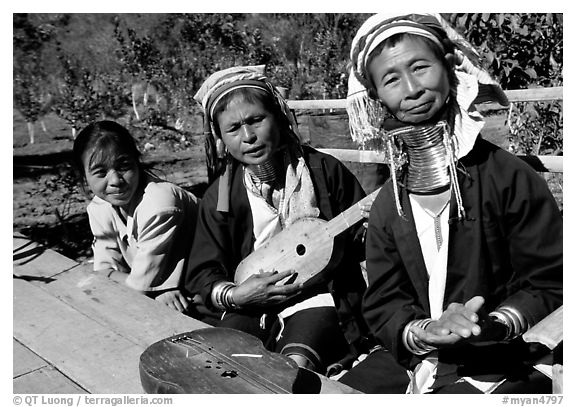 Three generations of Padaung women	singing. Shan state, Myanmar