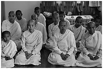 Women scholars, Zayar Theingi Nunnery, Sagaing. Myanmar ( black and white)