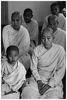 Nuns of various ages, Zayar Theingi Nunnery, Sagaing. Myanmar ( black and white)