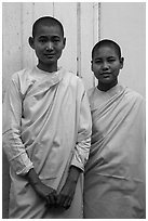 Two nuns, Zayar Theingi Nunnery, Sagaing. Myanmar ( black and white)