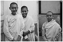 Smiling nuns, Zayar Theingi Nunnery, Sagaing. Myanmar ( black and white)