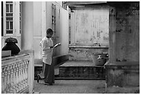 Nun reading, Zayar Theingi Nunnery, Sagaing. Myanmar ( black and white)