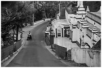 Road up Sagaing Hill, Sagaing. Myanmar ( black and white)