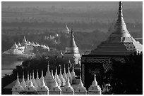 Stupas and Ayeyarwady river seen from Sagaing Hill. Myanmar ( black and white)