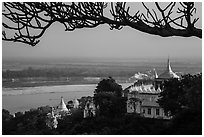 Ayeyarwady river and pagodas seen from Sagaing Hill. Myanmar ( black and white)