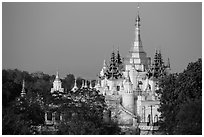 Pagoda on Sagaing Hill. Myanmar ( black and white)