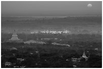 Sunset from Sagaing Hill. Myanmar ( black and white)