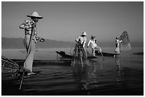 Intha fishermen standing on stern of their boats to fish. Inle Lake, Myanmar ( black and white)