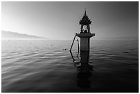 Shrine in the middle of the lake. Inle Lake, Myanmar ( black and white)