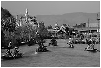 Small boats and shrines, Ywama Village. Inle Lake, Myanmar ( black and white)
