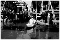 Houses along khlong on Thonbury canals. Bangkok, Thailand ( black and white)