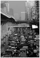 Traffic jam. Bangkok, Thailand ( black and white)