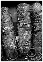 Bicycle and baskets near market. Bangkok, Thailand ( black and white)
