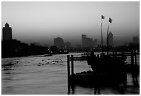 Sunset over Chao Phraya river. Bangkok, Thailand ( black and white)