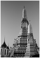 Prang (khmer style tower) of Wat Arun,sunrise. Bangkok, Thailand ( black and white)