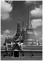 Wat Phra Kaew, adjacent to the Grand Palace, home of the most venerated emerald Buddha. Bangkok, Thailand (black and white)