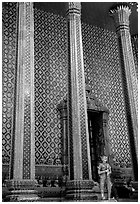 Gilded columns and walls, Wat Phra Kaew. Bangkok, Thailand ( black and white)