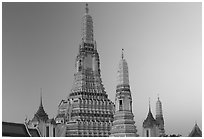 Wat Arun, temple of dawn named after Indian god of dawn. Bangkok, Thailand ( black and white)
