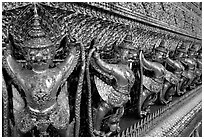 Classical thai figures in Wat Phra Kaew. Bangkok, Thailand ( black and white)