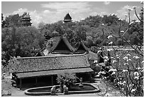 Overview. Muang Boran, Thailand (black and white)