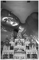 Head of reclining buddha, Phra Pathom Wat. Nakhon Pathom, Thailand ( black and white)