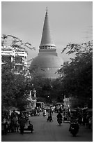 Phra Pathom Chedi  dominating the town skyline. Nakhon Pathom, Thailand ( black and white)