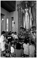 Worshipers at Phra Pathom Chedi. Nakhon Pathom, Thailand ( black and white)