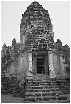 Prang Sam Yot, classic Khmer-Lopburi style hindu temple turned buddhist. Lopburi, Thailand (black and white)