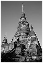 Wat Chai Mongkon. Ayutthaya, Thailand ( black and white)