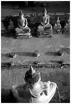 Buddha images, Wat Chai Mongkon. Ayutthaya, Thailand ( black and white)