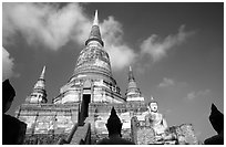 Wat Chai Mongkon and buddhas. Ayutthaya, Thailand ( black and white)