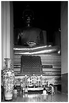 Large Buddha image in modern Wat. Ayutthaya, Thailand ( black and white)