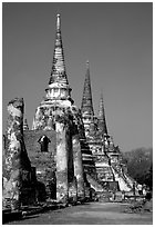 Ruined chedis. Ayutthaya, Thailand ( black and white)