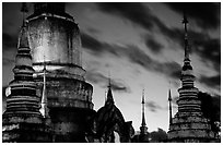 Wat Suan Dok temple at dusk. Chiang Mai, Thailand (black and white)