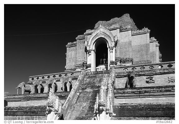 Ruined Wat Chedi Luang with elephants in the pediment. Chiang Mai, Thailand (black and white)
